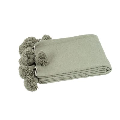 Pom pom deken grijs